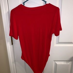 Red short sleeved bodysuit